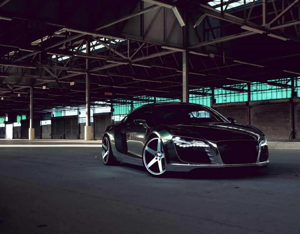 Black Audi R8 Chrome Model Car In Parking