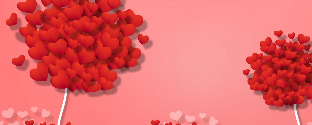 Images Of Red Heart On Trees With Red Heart Bushes