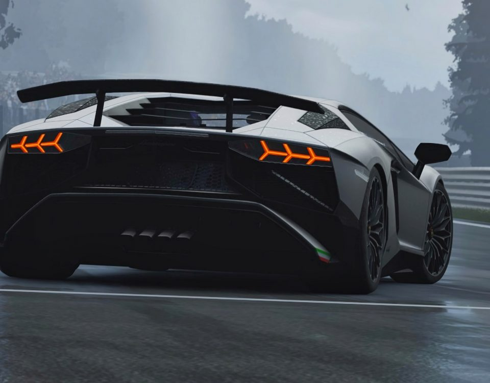 Black Lamborghini Car Rear View On Road In Evening