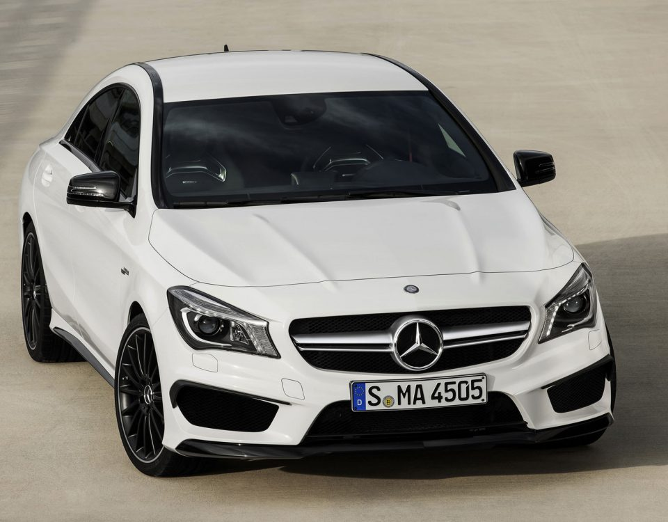 White Mercedes CLA45 Car On Road