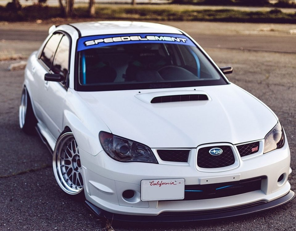 White Subaru Impreza Car Model WRX STI 2014 On Road