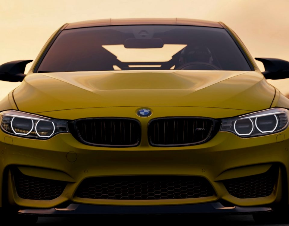 Yellow BMW Car Model M4 GTS 2018 Front View