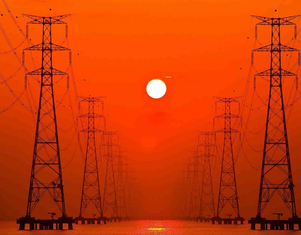 Sunset Behind Power Poles