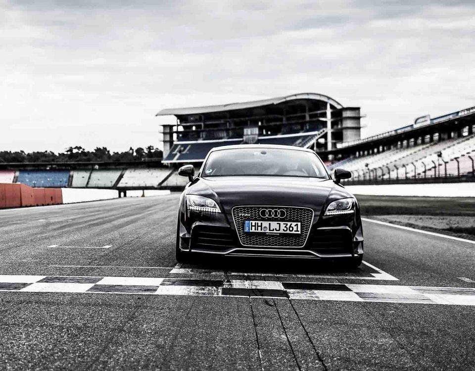 Black Audi TT RS Car On Race Finishing Line