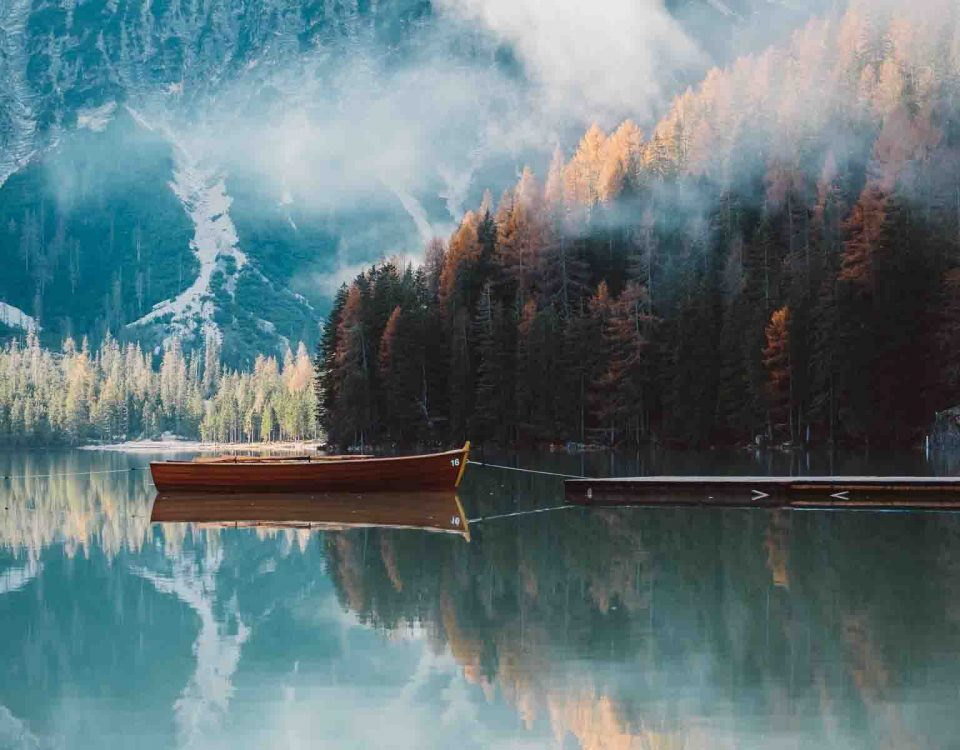 Beautiful Scenes Of Lake, Boat, Trees And Blue Skies