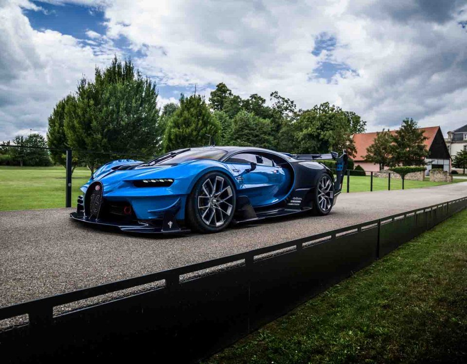 Top Speed Blue Bugatti Car On Road