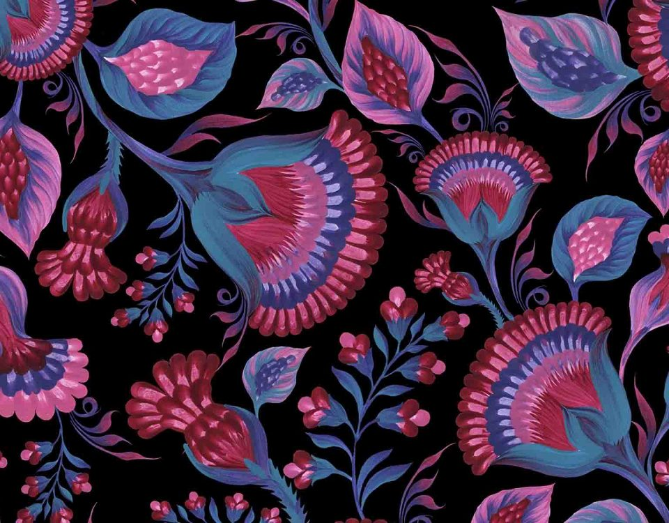 Purple And Blue Flower Pattern On Black Background