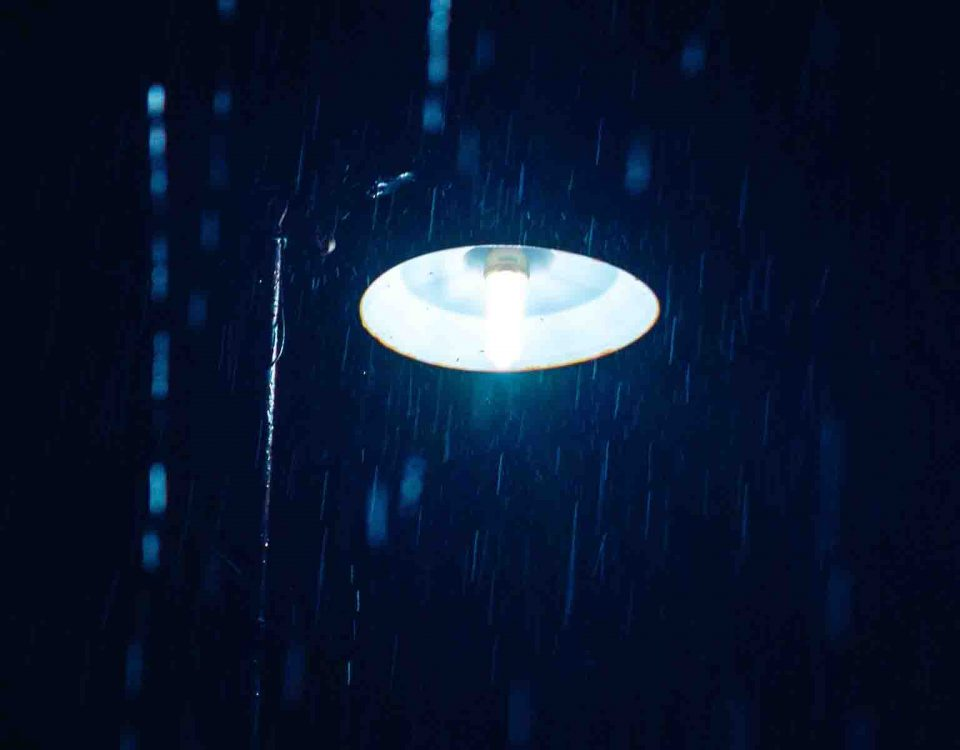 Blue Light In Night Rain