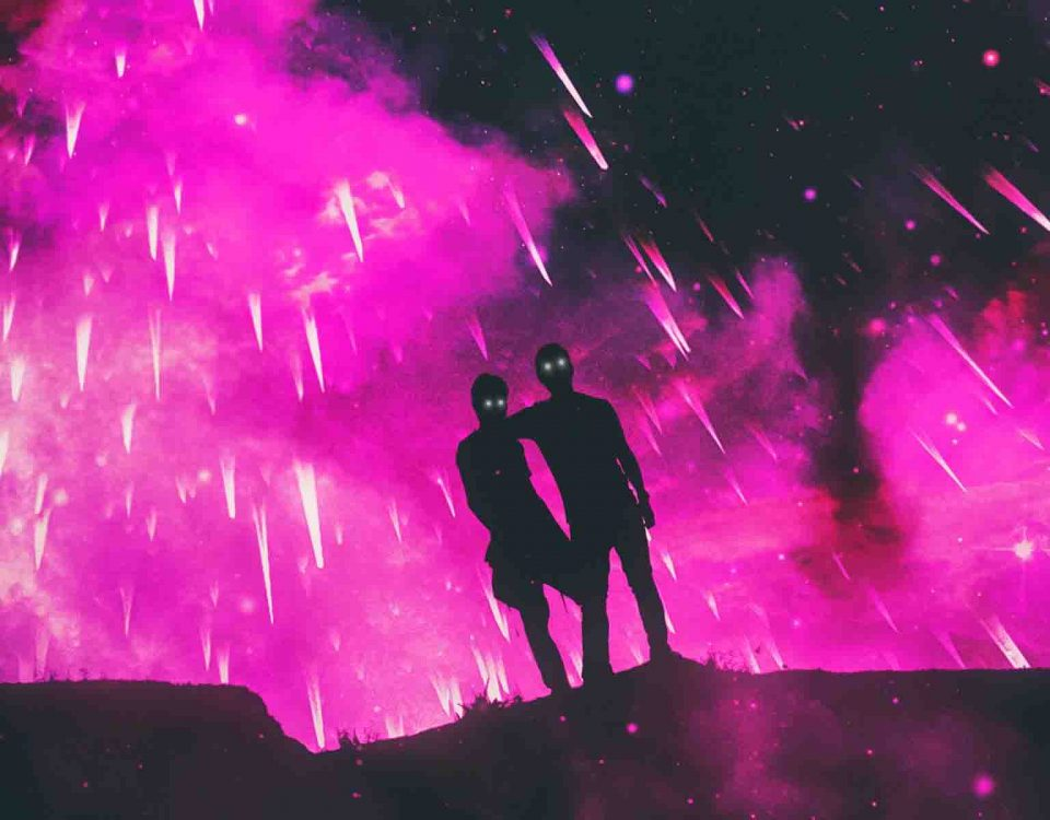 Sky Throwing Purple Flames To Attack Two People Silhouettes