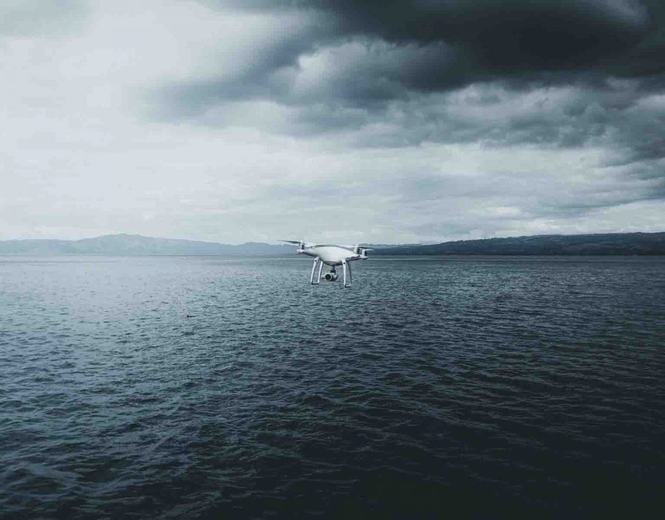 Quadrotor Drone Over The Ocean