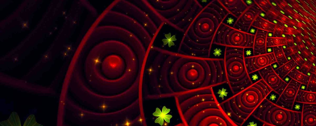 Red Circles Art With Small Green Particles On Black Background