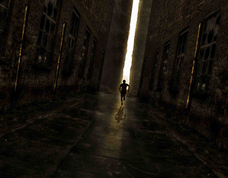 A Man Is Running Alone Towards The Light On The Road Between Two Walls