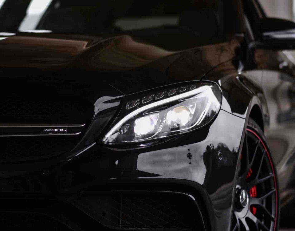 Black Mercedes Car Model C63 AMG 0-60 Close Up From Right Side
