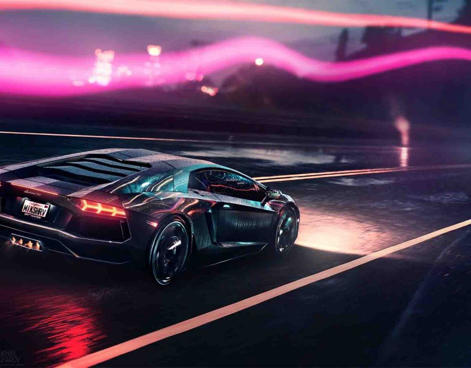 Beautiful Black Lamborghini Aventador Car Is On Fire In Night On Road