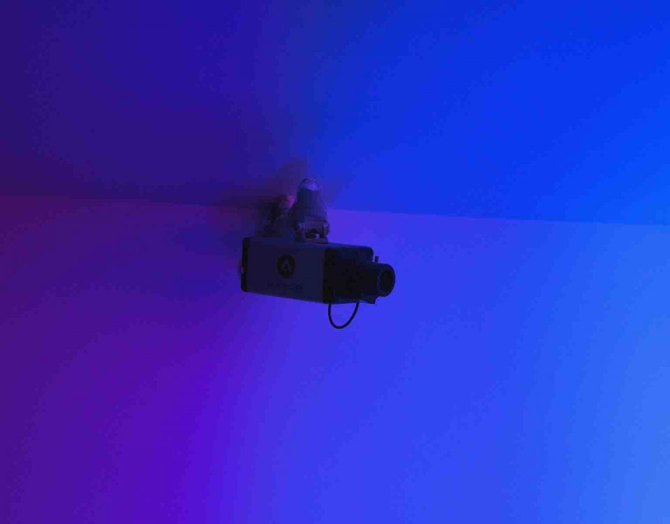 One Camera From Many Different Types Of Surveillance Cameras Is Monitoring In A Dark Room
