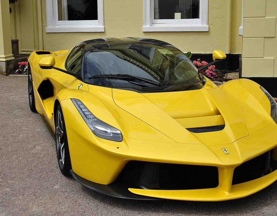 Yellow Ferrari Car On Road