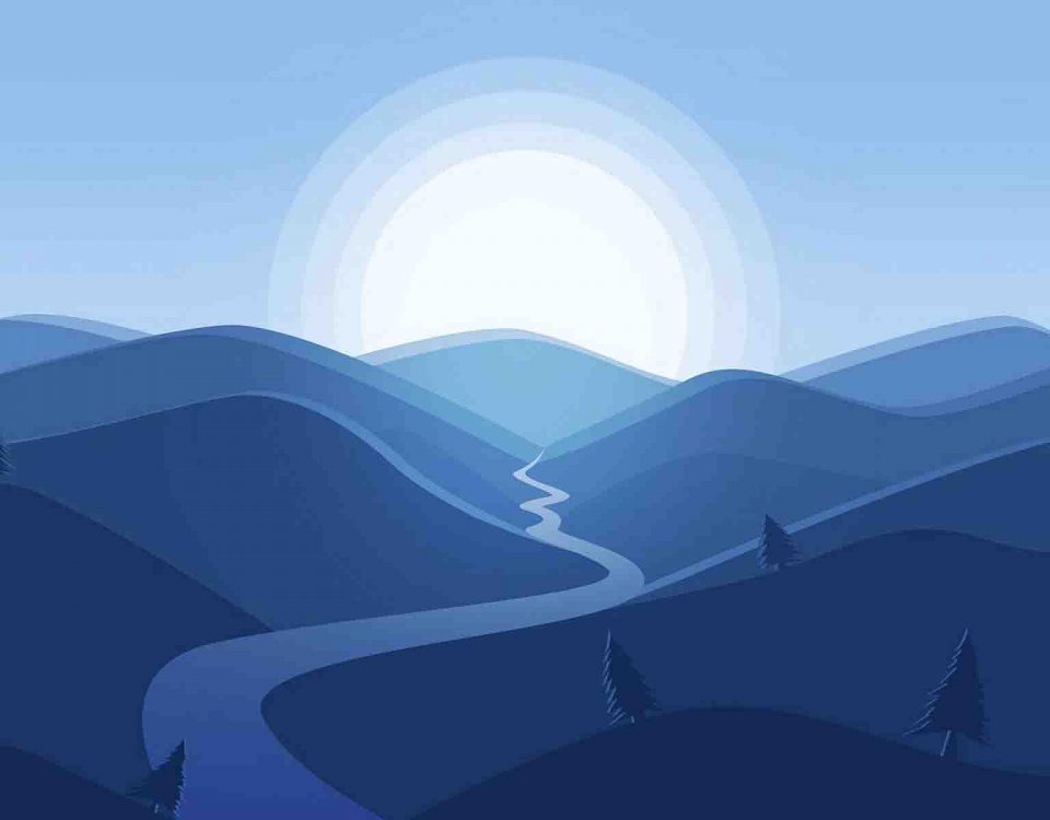 Vector Of A Mountain And Moon