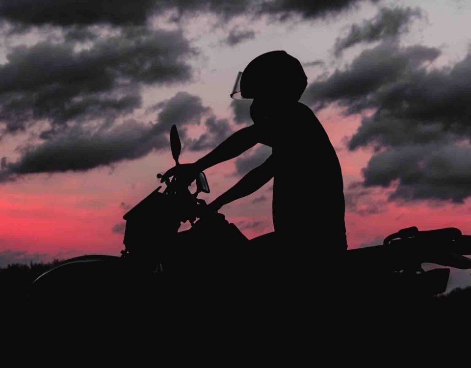 Silhouette of a Bike and Motorcyclist