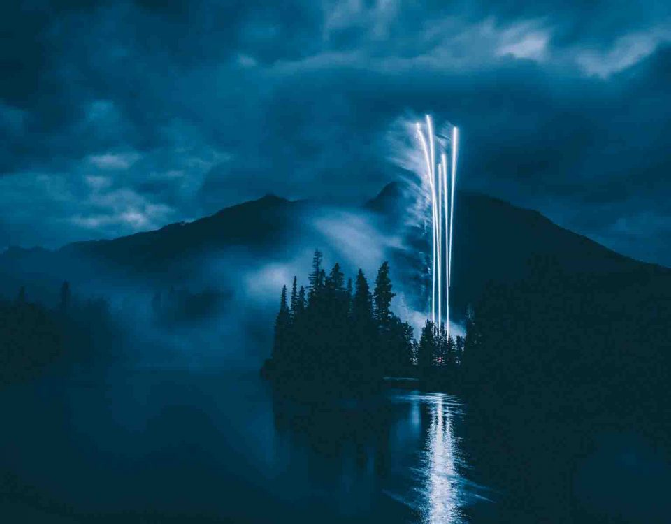 Blue Fireworks on Mountains
