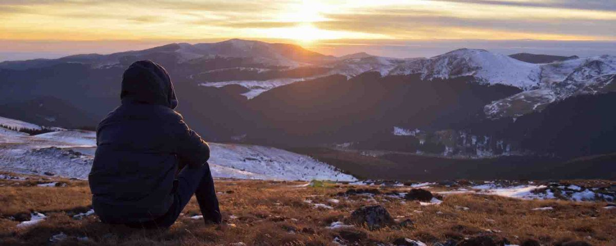 He Is Alone on Mountain