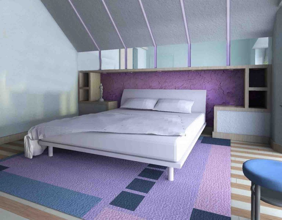 Interior Design of Bedroom with Purple Combination